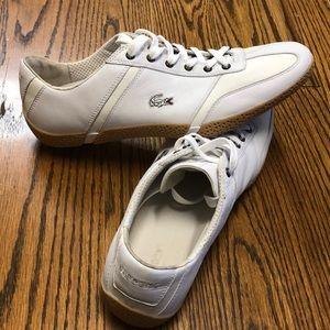 Men's LACOSTE white croc sneakers sz 13 US